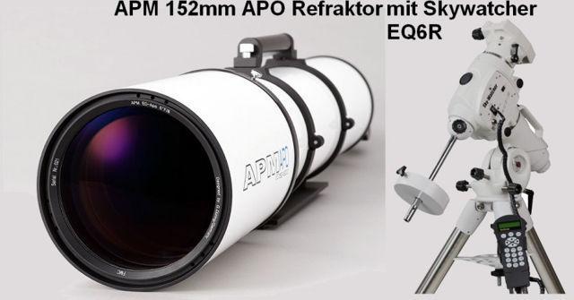"""Bild von APM Refraktor Teleskop Doublet ED Apo 152 f/7,9 OTA mit 3.7"""" Auszug mit EQ6-R Montierung"""