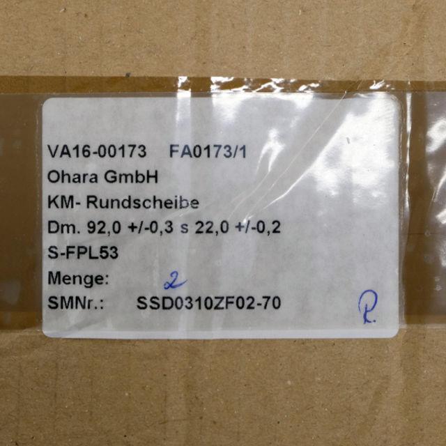 Bild von Ohara Rundscheibe Rohling FPL53 92mm Durchmesser
