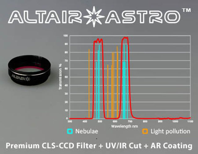"""Picture of Altair SkyTech Astro Premium 1,25"""" CLS-CCD filter with UV/IR block and AR coating"""