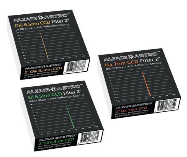 """Picture of Altair SkyTech 2"""" Premium Narrowband CCD Filter Set"""