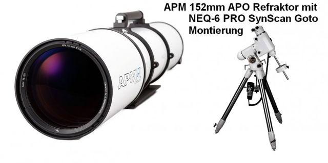 """Bild von APM Refraktor Teleskop Doublet ED Apo 152 f/7,9 OTA mit 3.7"""" Auszug mit NEQ6 Montierung"""