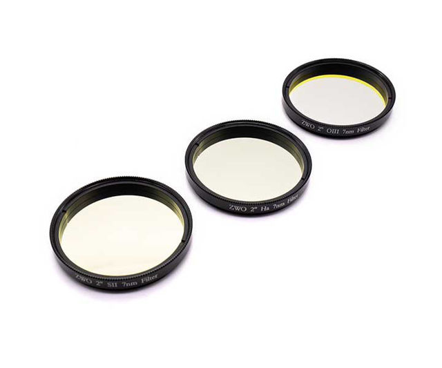 """Picture of ZWO 2"""" narrow band filter set 7 nm - consisting of H-Alpha, S-II and O-III"""