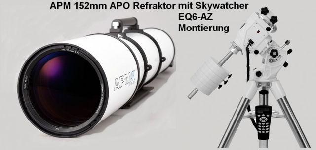 """Bild von APM Refraktor Teleskop Doublet ED Apo 152 f/7,9 OTA mit 2.5"""" Auszug mit AZ-EQ6GT Montierung"""