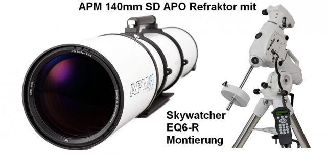 """Bild von APM Refraktor Teleskop Doublet SD Apo 140 f/7 FPL53 OTA mit 3.7"""" Auszug und EQ6-R Montierung"""