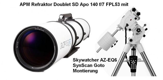 """Bild von APM Doublet SD Apo 140 f/7 FPL53 Optischer Tubus mit 3.7"""" Auszug und AZ-EQ6GT Montierung"""