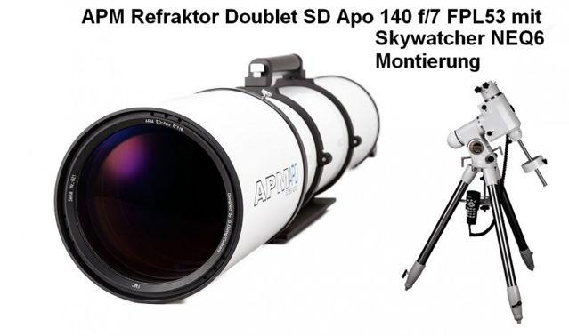 """Bild von APM Doublet SD Apo 140 f/7 FPL53 Optischer Tubus mit 2.5"""" Auszug und NEQ6 Montierung"""